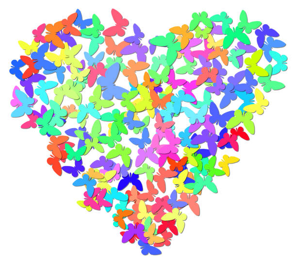 Colorful heart with butterflies, vector illustration