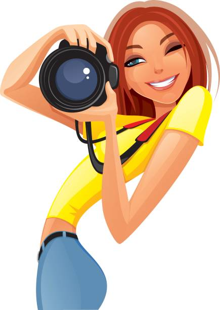 Illustration of woman with a camera.