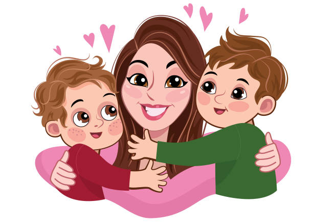 Illustration of a mother with two her boys hugging her